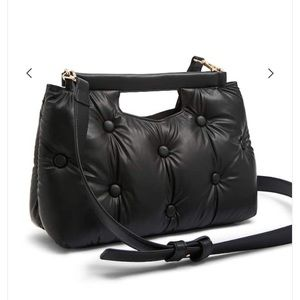 Faux Leather Cushioned Shoulder Bag
